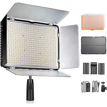 SAMTIAN 600Sビデオライトセット LEDカメラ撮影照明ライトキット 3200K-5600K二色温度 10%-100%調光可能 LCDディスプレイと遮光板付き 2200LM CRI 96+ キャリングケース付属 商品撮影、ツイッター、YouTube、生放送、写真ビデオ撮影に適用