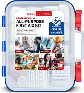 Care Science First Aid Kit Professional + All Purpose, 351 Pieces - Meets OSHA ANSI 2015 Guidelines with Wall Mount. Professional Use for Work, School, Home, Car, Survival, Camping, Hiking, and More