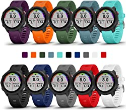 COLAPOO 10PACK Multicolor Bands Compatible with Garmin Forerunner 245/645,20mm Soft Silicone Wristbands for Garmin 245 Mus...