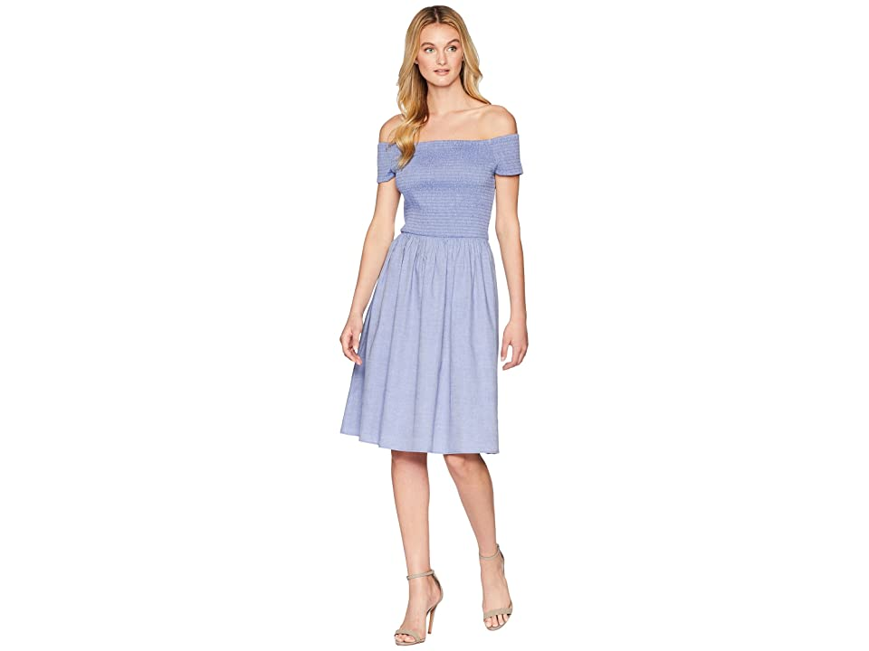 Nine West Off Shoulder Fit Flare Dress w/ Smoked Bodice (Chambray) Women