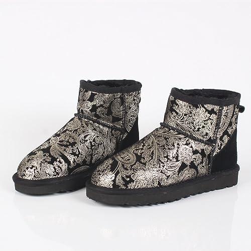 DYF Chaussures Bottes courtes à tête ronde Grande taille de la neige fond plat antidérapant chaud,oren Phoenix,sur