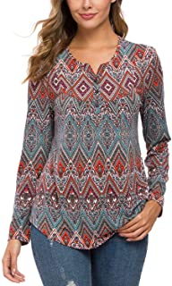 Urban CoCo Women's Ethnic Style Floral Print Long Sleeve Shirt