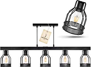 Black Farmhouse Chandelier – Pendant Lighting for Kitchen Island, Dining Room Lighting Fixtures Hanging, Pool Table Light, Matte Black Iron Industrial Ceiling Light Fixture