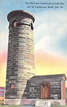Erie Pennsylvania view of Old Land Lighthouse Lake Erie antique pc Z9480