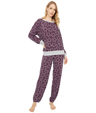 Splendid Westport Brushed Jersey Long Sleeve PJ Set (Festive Sky Wine) Women