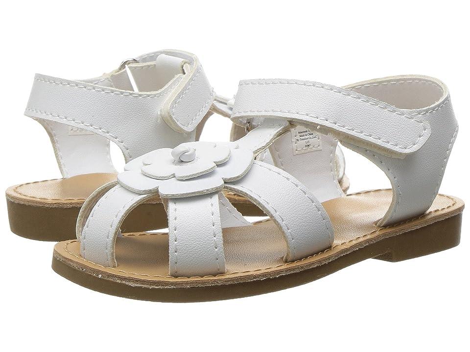 Baby Deer Closed Toe Flower Sandal (Infant/Toddler) (White) Girls Shoes