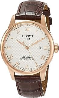 ساعة تيسوت باورماتك للرجال روز تون جلد بني T0064073603300