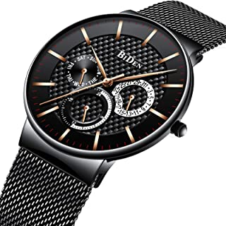 Mens Watches Fashion Minimalist Ultra-Thin Quartz Analog Leather Wrist Watch 30M Waterproof Watch