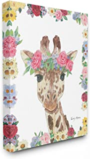 The Stupell Home Decor Collection Flower Friends Giraffe Stretched Canvas Wall Art, Multicolor