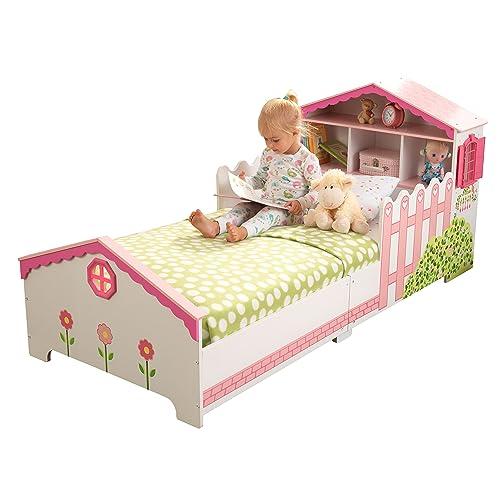 KidKraft 76255 Cama infantil con diseño casa de muñecas con marco de madera, muebles para dormitorio de niños