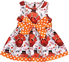 GRNSHTS Thanksgiving Baby Girls Dress Kids Girl Turkey Party Pageant Dresse Belt Button Clothes