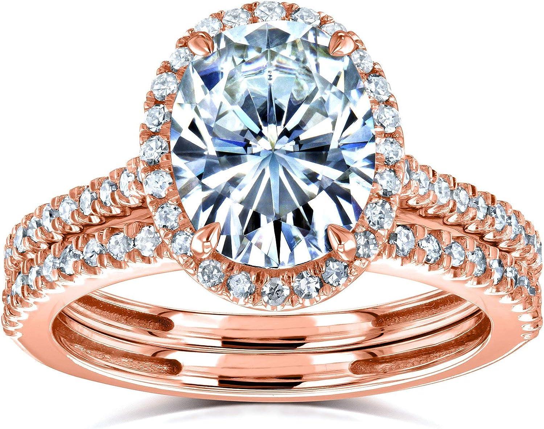 Kobelli Oval Moissanite Halo Bridal Rings Set Popularity 14k CTW 2 8 3 Rose trust