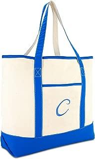 Women's Canvas Tote Bag Satchel Shoulder Bags Royal Blue Monogram A-Z