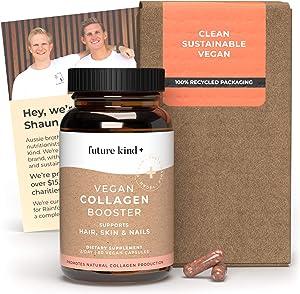 Vegan Collagen Booster - Future Kind Vegan Collagen Capsules Booster with Vegan Collagen Powder - Collagen Vegan Builder with Silica, Biotin, Grape Seed Extract - 60 Capsules