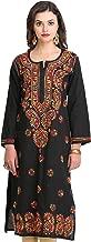 ADA Hand Embroidered Lucknow Chikan Regular Wear Cotton Kurti Kurta (A188048_Black)
