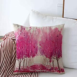 Staroutah Pillow Case Sakura Pink Apple Blossom Cherry Tree Alley Spring Nature Abstract Parks Purple April Arch Bloom Farmhouse Decorative Throw Pillows Covers 18