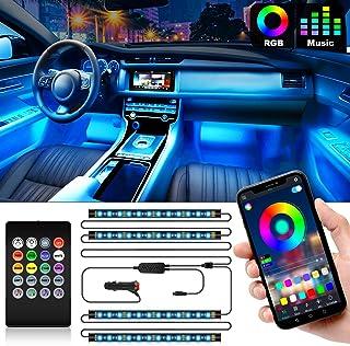Shynerk Interior Car Lights, Car LED Strip Lights 2-in-1 Design 4pcs 48 LED Remote and APP Controller Lighting Kits, Waterproof Multi DIY Color Music Car Lighting with Car Charger and DC 12V