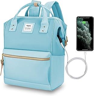 HETHRONE Sac à Dos Femme 15.6 Sac à Dos Pc Antivol Imperméable Backpack pour Scolaire Voyage Travail Décontracté Azur USB