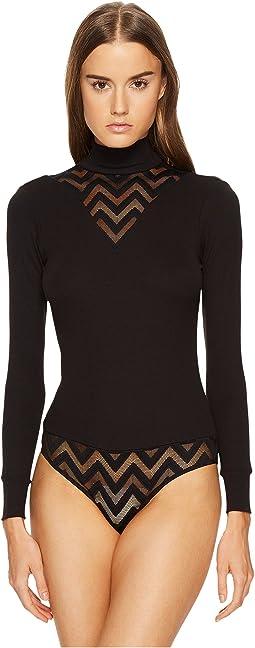 ELSE - Chevron Cashmere Blend Long Sleeve Bodysuit