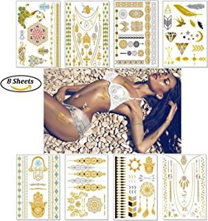 Temporary Boho Metallic Tattoos for Women Girls | Gold Silver Shimmer Designs Jewelry Tattoos | 100+ Color Fake Waterproof Tattoo Stickers Henna Body Paints (Pattern 1)