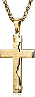 Gold Tone Cross Necklace for Men Boys Prayer Stainless Steel Pendant Necklace 24 and 30 Inches