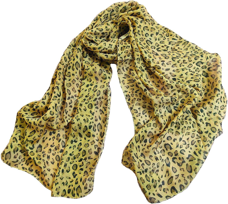 Womens Leopard Print Scarf Soft Chiffon Summer Lightweight Fashion Cheetah Scarves Sunscreen Shawls