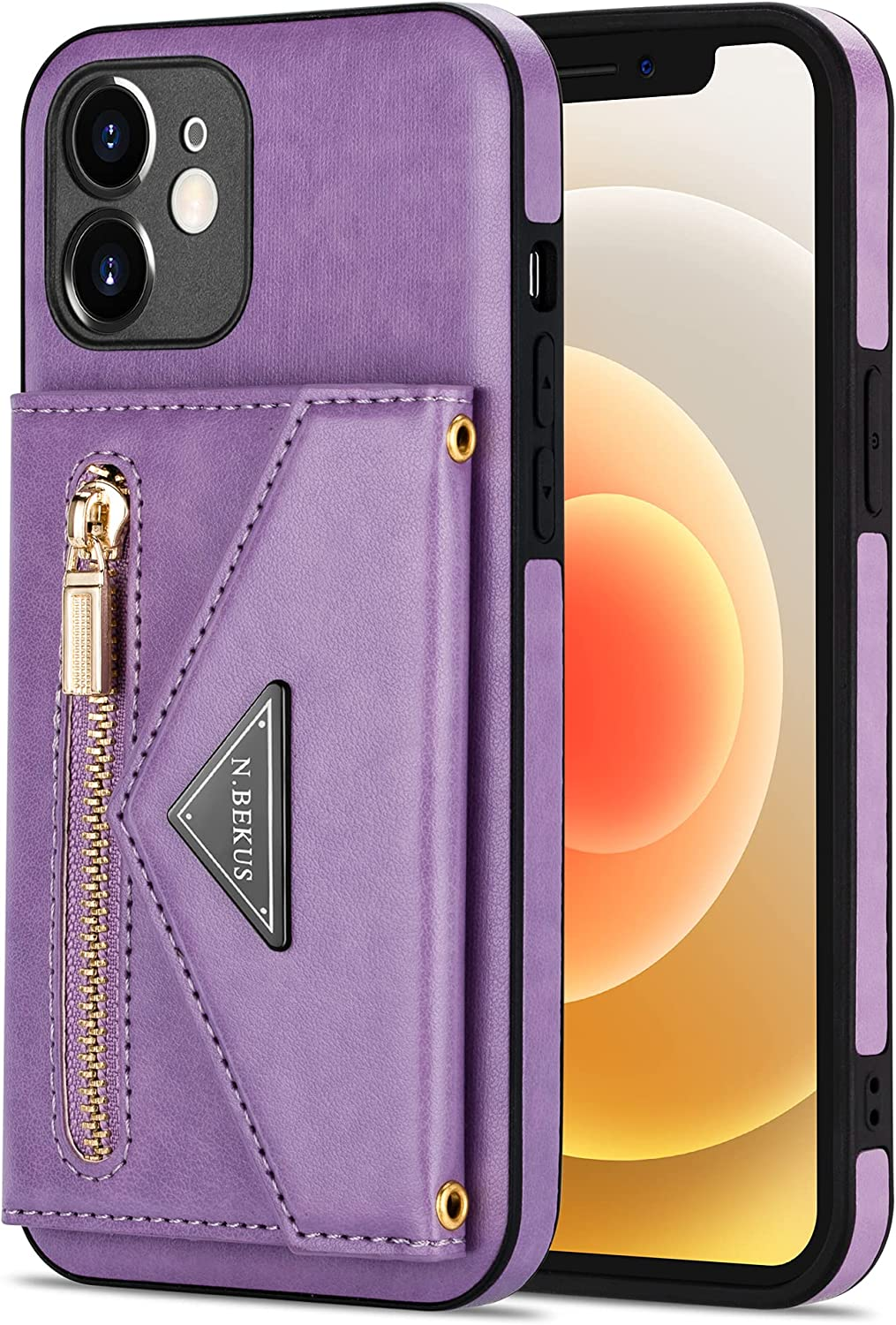 Crossbody Wallet Case for Samsung Galaxy S20FE with Card Holder, Zipper Back Flip Card Slot Protector Shockproof Purse PU Leather Cover with Removable Cross Body Strap (Purple)