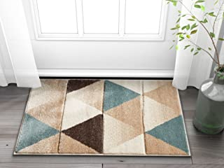 Well Woven Suave Angles Brown & Blue Modern Geometric Triangles Hand Carved 2x3 (2' x 3') Area Rug Easy to Clean Stain & Fade Resistant Thick Soft Plush
