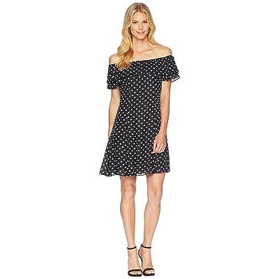Tahari by ASL Convertible Dot Dress (Black/White) Women