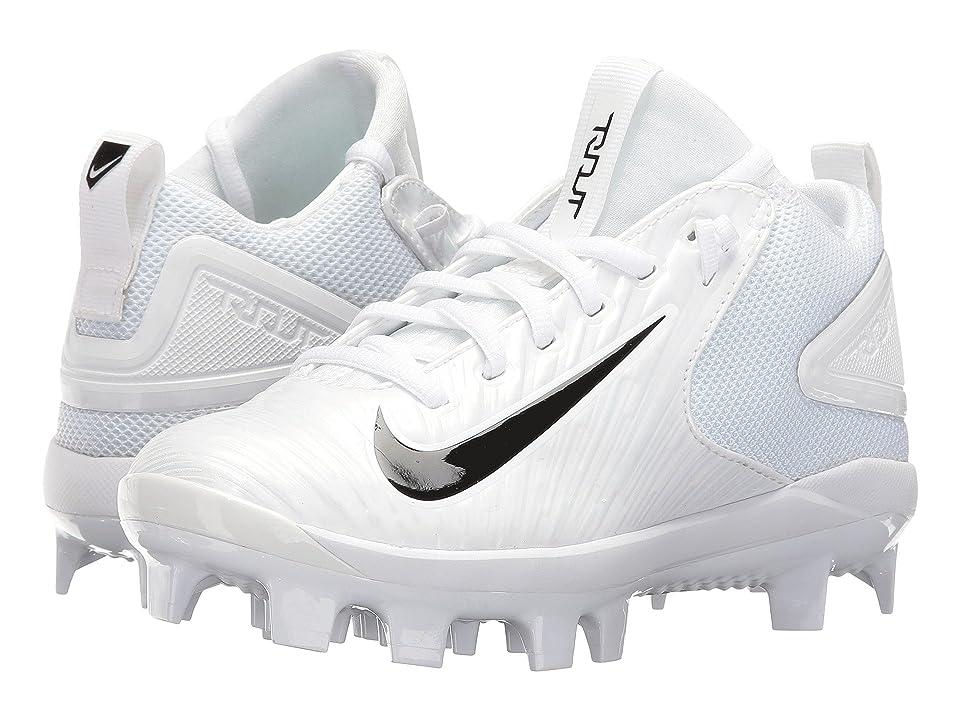 Nike Kids Trout 3 Pro BG Cleated Baseball (Big Kid) (White/Black) Kids Shoes