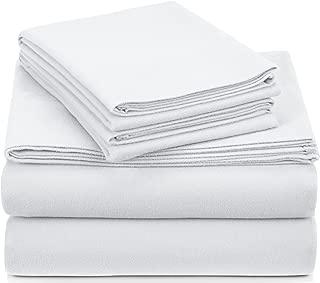 Pinzon Signature Cotton Heavyweight Velvet Flannel Sheet Set - King, White