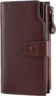 Women's RFID Blocking Large Capacity Luxury Wax Genuine Leather Clutch Wallet Card..