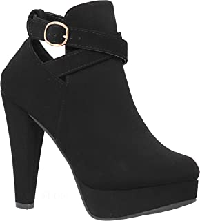 Shoes Women's High Heel Ankle Booties - Strappy Platform Stylish Booties