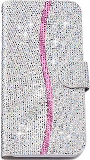 Felfy Kompatibel med Huawei Y6 2019 fodral glitter flip-fodral, PU-läderväska med kortfack magnet flip läderfodral bok sti...