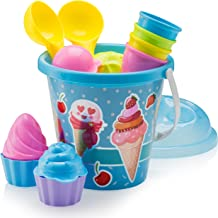 Top Race Kids Beach Toys Set with Bucket Pail and Spade Scop - 16pcs Ice Cream Blue Sand Playset for Kids & Toddlers Ages ...