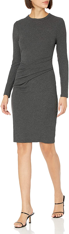 Daily Ritual Women's Rayon-Spandex Fine Rib Standard-Fit Long-Sleeve Crewneck Draped Dress