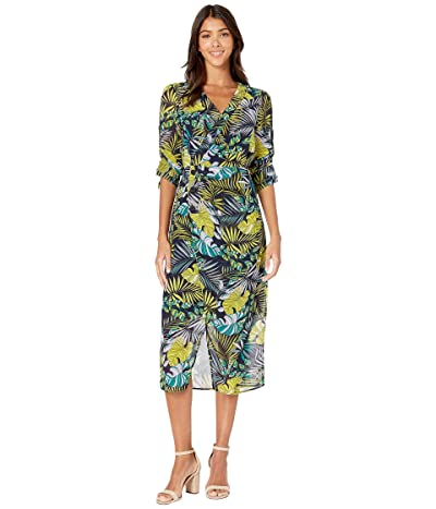 Sam Edelman Tropical Side Drape Maxi Dress (Green Multi) Women