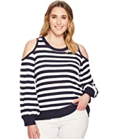 MICHAEL Michael Kors Plus Size Striped Cold Shoulder Sweater