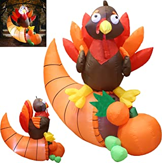 Joiedomi 5 Foot Thanksgiving Inflatable Turkey on Cornucopia; LED Light Up Blow Up Turkey for Autumn Thanksgiving Decorations and Fall Family Party Favor Supply Décor.