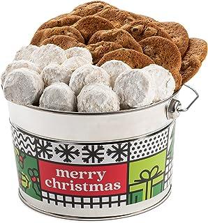 David's Cookies Merry Christmas Assorted Cookies Bucket with Thin Crispy Cookies and Pecan Meltaways Treats – Delicious Tr...