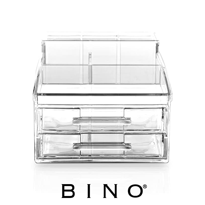 BINO The Free Spirit' 8 Compartment Acrylic Makeup and Jewelry Organizer with 2 Removable Drawers, Clear and Transparent Cosmetic Beauty Vanity Holder Storage