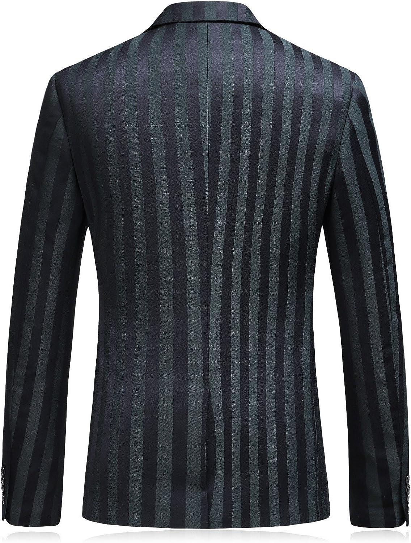 Mens 3 Piece Suit Slim Fit Stripe Tuxedo Blazer Pants Vest Set