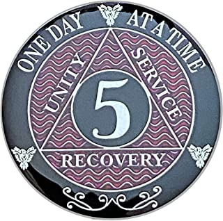 (1-10) Year AA Coin Silver Plated Medallion, Recovery Chip, 12 Step Token, Alcoholics Anonymous Coin (RED, 5 Year AA Coin)