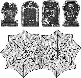 MADHOLLY 4 Pack Halloween Foam RIP Graveyard Tombstones& 2 Pcs Bonus Black Lace Cobweb Spiderweb Fireplace Mantles- Hallow...