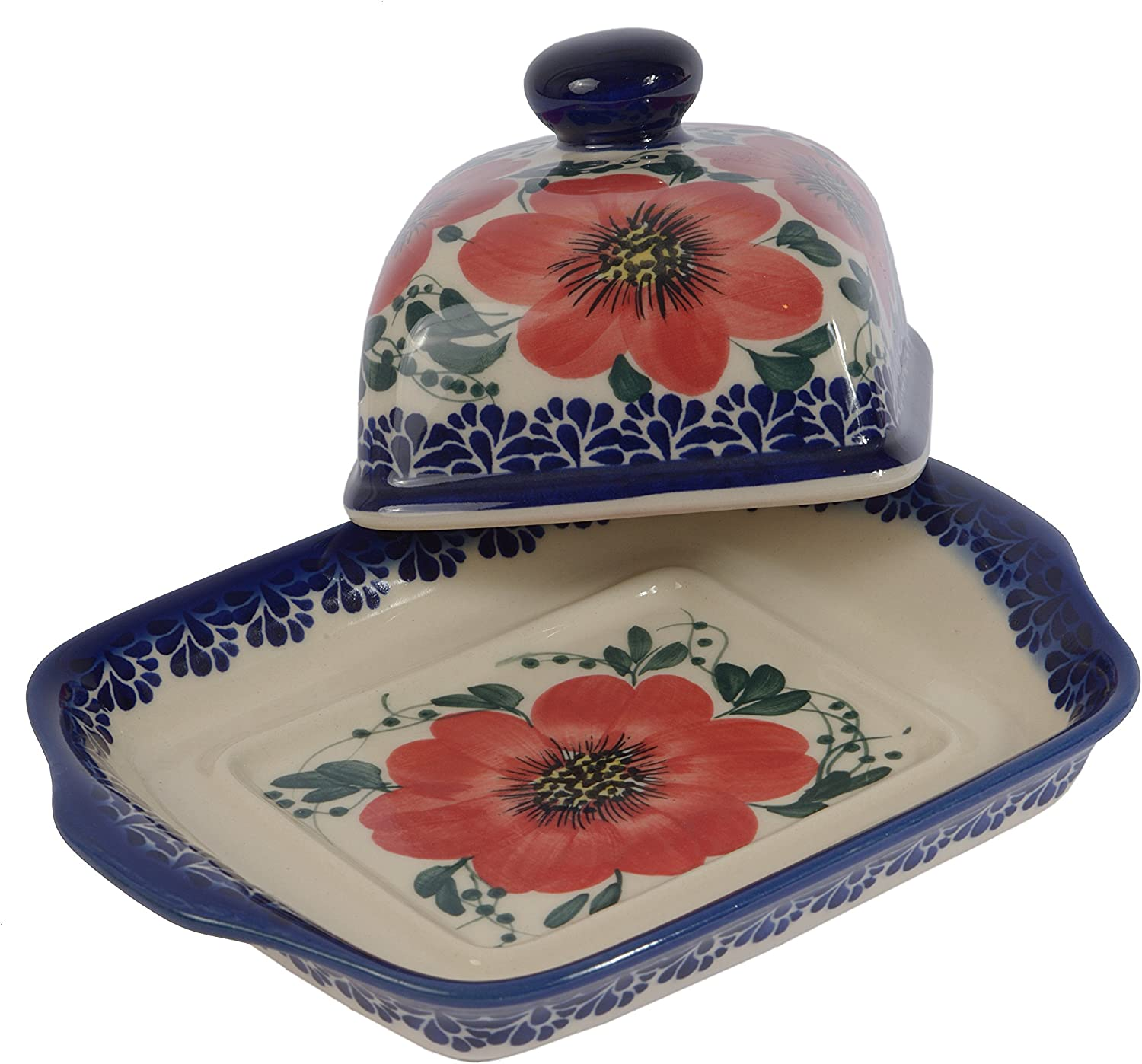 B.101.CREDO Traditional Polish Pottery Handcrafted Ceramic Butter Dish with Lid Boleslawiec Style Pattern