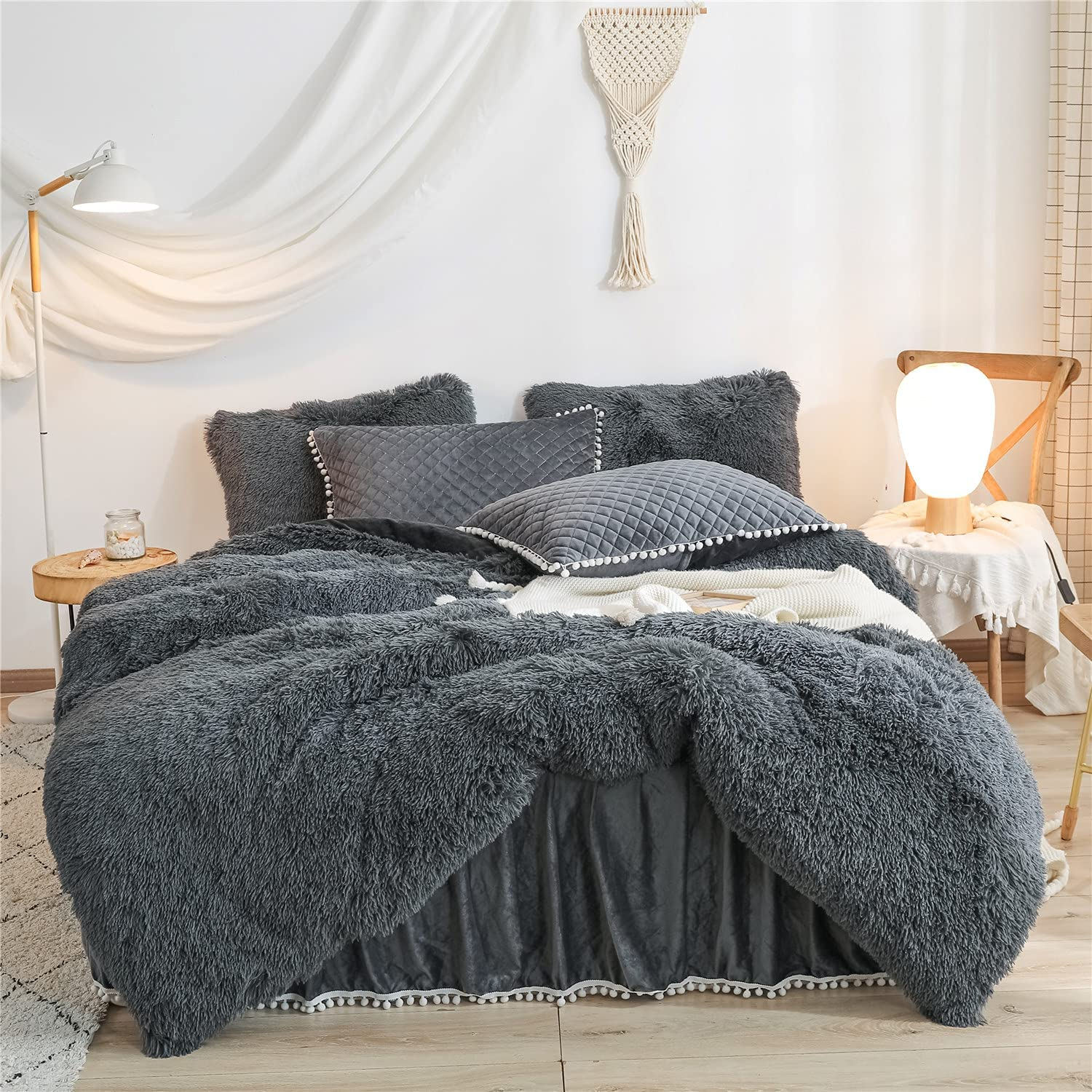 Dark Dealing full price reduction Gray Luxury Fluffy Shaggy Duvet Faux Ranking TOP17 Cute Cover Comfort Fur