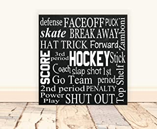 456Yedda Wood Sign Hockey Vinyl Wood Subway Art Hockey Subway Art Man Cave Hockey Art Sports Nursery Hockey Coach Gift Boy Room Decor Wooden Sign Wooden Signs for Home Decor