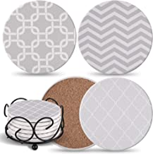 Coasters For Drinks Absorbent with Holder Included - 6 Grey Mix Pattern on Big Ceramic Gray Stones with Cork Back, Use as Home Decor and Save Your Furniture From Water Stains, Marks And Scratches