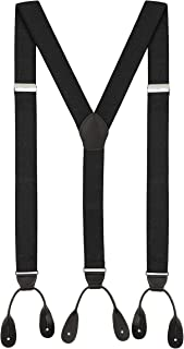 Suspenders for Men Leather Button End Elastic Tuxedo Y Back Mens Pant Braces