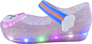 Yellow Bee LED Unicorn Mary Jane Jelly Shoes for Girls, Purple